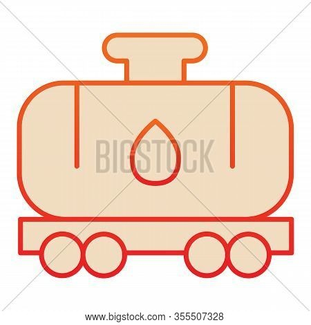 Tank Wagon Flat Icon. Chemical Fuel Railroad Wagon. Oil Industry Vector Design Concept, Gradient Sty