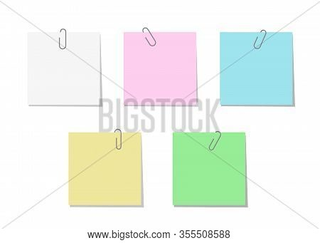 Paperclip With Blank Color Notepaper. Sheet For Message Or Adding More Text. Template For Memo. Vect