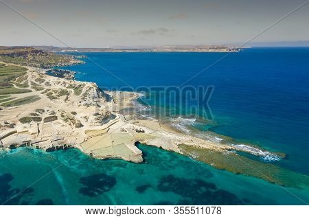 Aerial View Of Salt Pans In The Island Of Malta