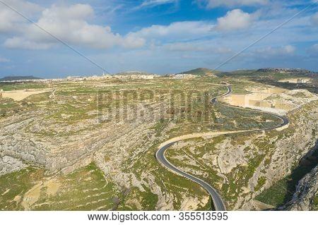 Gozo Island Landscape In Malta, Aerial View