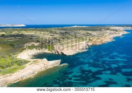 Aerial Drone View Of Rocky Coastline And Sea. Malta