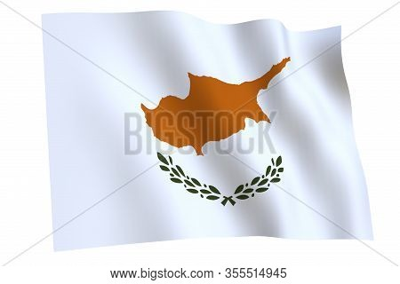 Cyprus Flag, 3d Render. Flag Of Cyprus Waving In The Wind, Isolated On White Background.