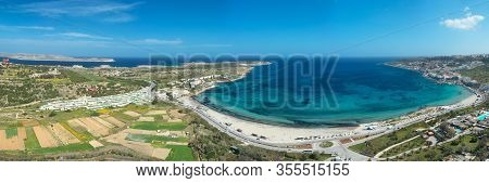 Aerial View Of The Famous Mellieha Bay  In Malta Island