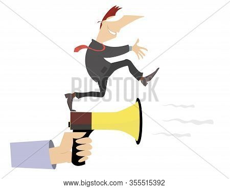 Hand With Megaphone And Blindfold Man Concept Illustration. Hand With Megaphone Shows A Direction To