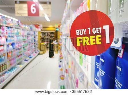 Bangkok, Thailand - March 13: Buy One Get One Free Promotion Takes Place In Foodland Supermarket In