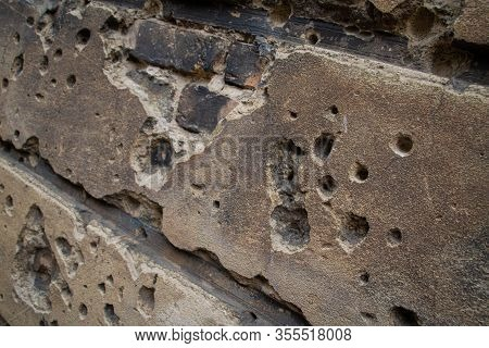 Bullet Holes Left After World War Ii In The Walls Of Berlin, Germany