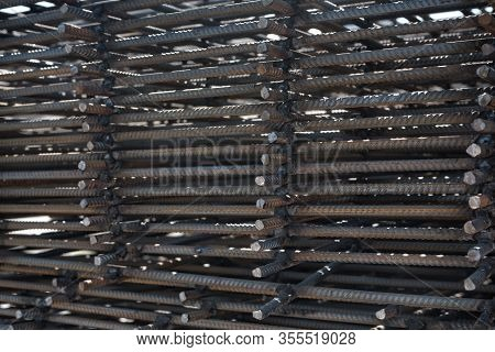 Steel Reinforcement Bar For Industrial Building. Metal Parts For Reinforcements