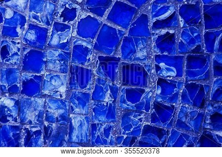 Horizontal Pattern Of Blue Street Mosaic. Background From Blue Mosaic, Broken Glass. Abstraction Fro