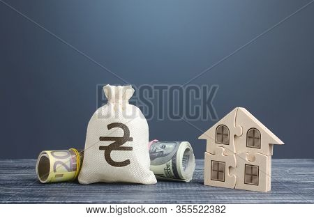 Ukraine Hryvnia Money Bag And Puzzle House. Housing Cooperative Membership. State Social Programs. M