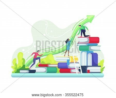 People Climbing Book. Level Of Education Concept, Business Success, Skill And Staff Development Conc