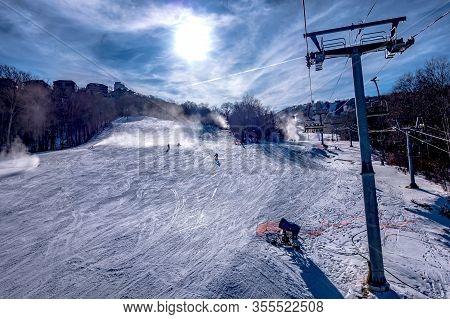 Skiing At The North Carolina Skiing Resort In February