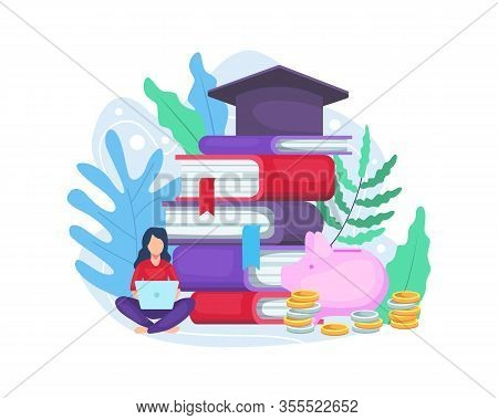 Vector Illustration Investment In Knowledge. Student Investing In Education, Student Loans Investmen