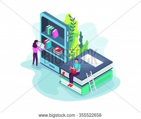 Online Library Concept In 3d Isometric. Isometric Online Mobile Library Concept. E-book 3d Illustrat