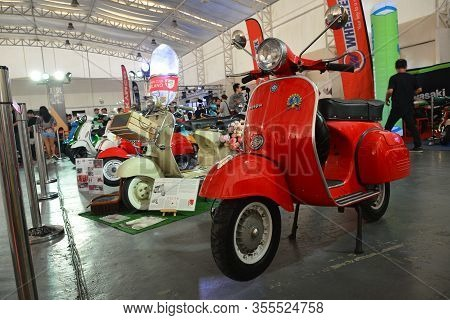 Pasig, Ph - Mar. 7: Red Vespa Motorcycle At 2nd Ride Ph On March 7, 2020 In Pasig, Philippines. Ride