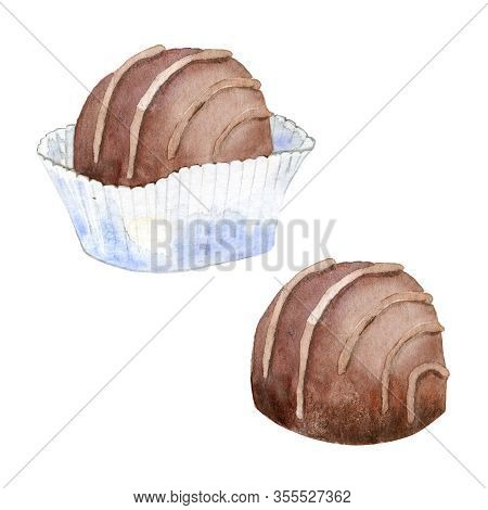 Watercolor Set Of Chocolate. Hand Drawn Belgian Confection Isolated On White.