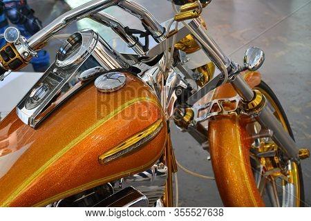 Pasig, Ph - Mar. 7: Orange Harley Davidson Motorcycle At 2nd Ride Ph On March 7, 2020 In Pasig, Phil