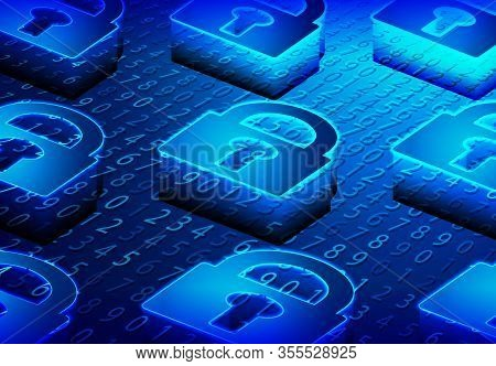 Isometric Lock, Padlock, Keyhole. Cyber Security And Information Or Network Protection. Future Cyber