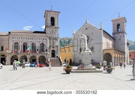 The Piazza San Benedetto In Norcia, Umbria, Italy.  The Town Has Been Badly Hit By Earthquakes In 20