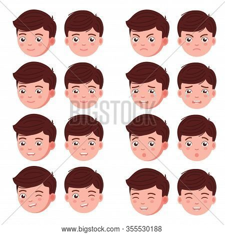 Set Boy Emotion Faces. Vector Illustration Kid Portrait Icon With Different Expression Feelings. Lit