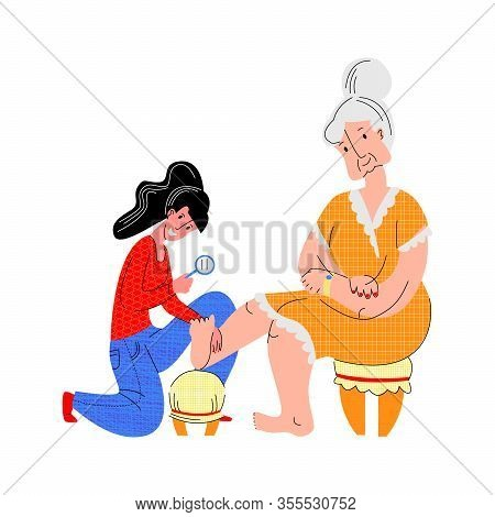 Vector Flat Illustration Elderly Woman Whose Foot Is Being Examined By Young Woman To Detect Diabeti