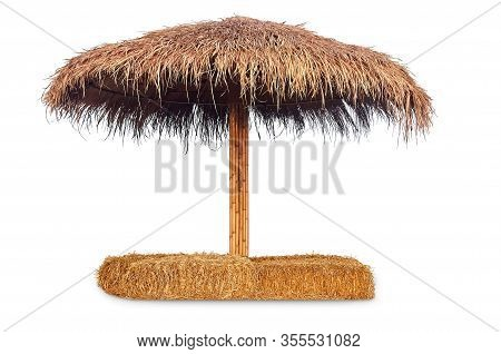 Tiki Hut Sun Umbrella, Bar Beach Hut With Straw Chair Isolated On White Background, Clipping Path In