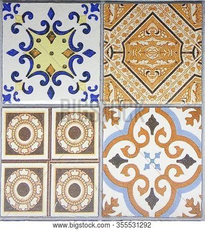Ceramic Tile Design.  Lisboa Azulejo. Digital Tiles Design. Colorful Ceramic Wall Tiles Decoration