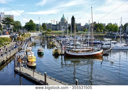 Victoria, British Columbia, Canada - June 17, 2018.  Yachts And Boats At The Inner Harbour Of Victor