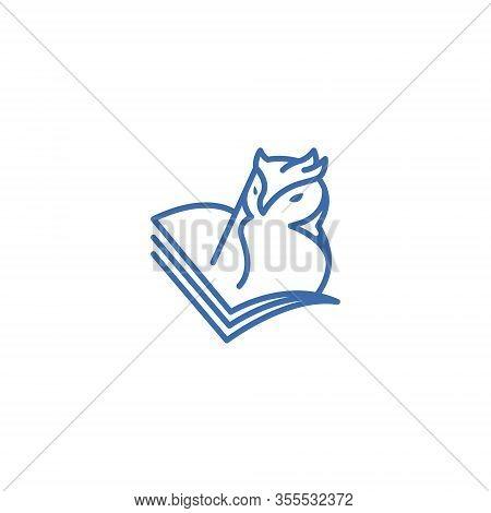 Owl Bird Book School Animal Education Knowledge Line Symbol Logo