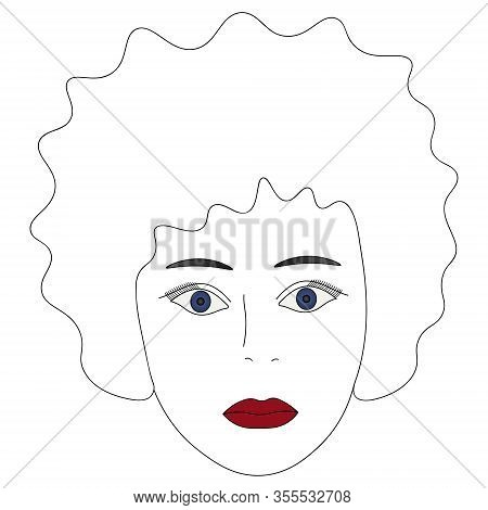 Vector Illustration Of A Girl Face With Blue Eyes. Full Face. Hairstyle Lush Curls. Her Plump Lips W