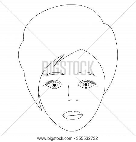 Vector Illustration Of A Girl Face. Full Face. Short Pixie Haircut. Puffy Lips. Face On An Isolated
