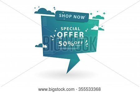 Sale Banner Special Offer Template Design. With Using The Concept Of Altitude And Clouds.