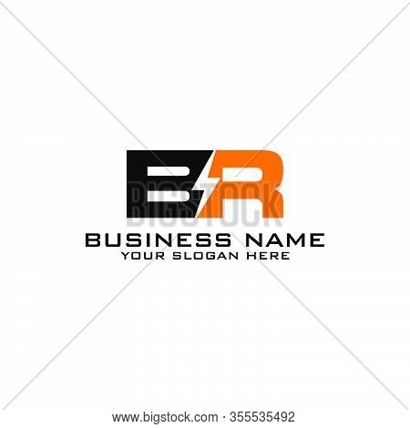 Br Initial Logo Concept With Electric Template Vector
