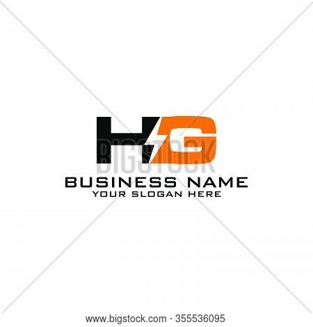 Hg Initial Logo Concept With Electric Template Vector