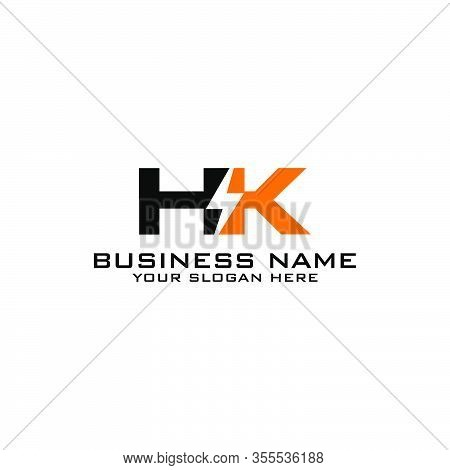 Hk Initial Logo Concept With Electric Template Vector