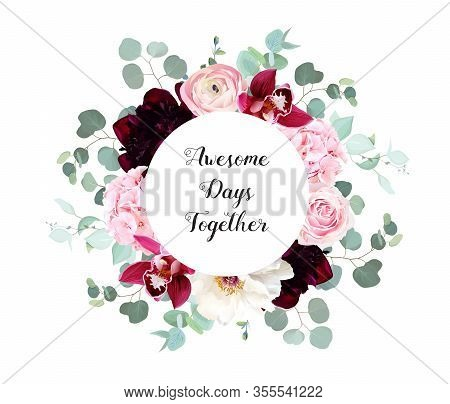 Elegant Floral Vector Frame With White And Burgundy Red Peony, Pink Rose, Cymbidium Orchid Flowers,