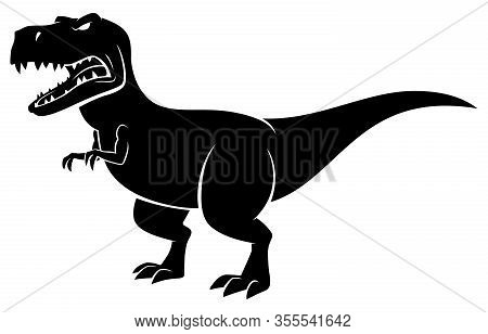 Cartoon Tyrannosaurus Rex Silhouette Over White Background.