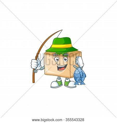 Cartoon Character Style Of Funny Fishing Basbousa