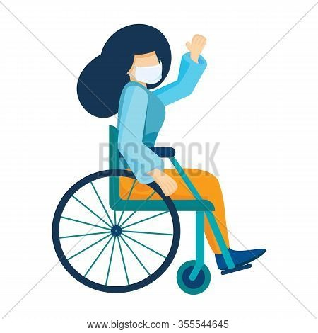Young Caucasian Woman In Medical Mask Sitting In A Wheelchair. Girl With Long Hair Living With Disab