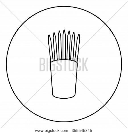 Pencils In Glass Stands Upright Office Supplier Concept Work Place Icon In Circle Round Outline Blac