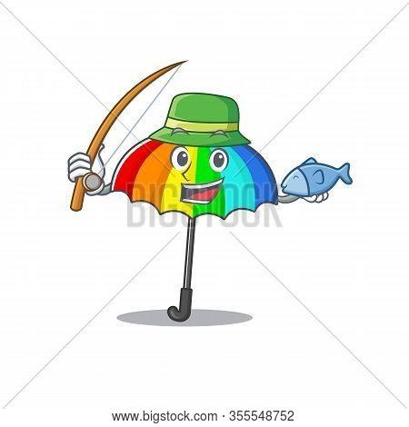 A Picture Of Funny Fishing Rainbow Umbrella Design