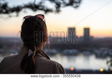 Beautiful Woman In Sunset. Beautiful Young Woman Enjoying Sunset In City. Modern People. Happy Peopl