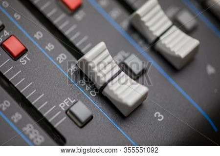Close-up Details Of Knobs And Buttons On A Modern, New Audio Mixer.