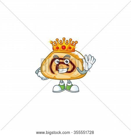 A Charismatic King Of Swiss Roll Cartoon Character Design