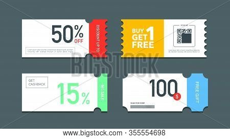 Set Of Coupon Promotion Sale For Website, Internet Ads, Social Media Or Coupon. Big Sale And Super S