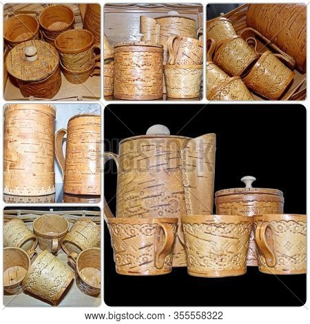 Photo Collage Cups And Kettle Of Birch Bark. Kitchenware. Folk Craft Of Russia. Retro. Products From