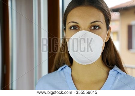 Covid-19 Pandemic Coronavirus Mask Woman Nurse Hospital Or Home Isolation Auto Quarantine For Virus