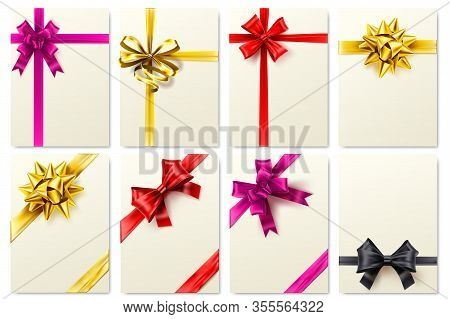 Greeting Card With Realistic Bow. Golden Ribbon, Gift Box With Bow And Elegant Cards Template Vector
