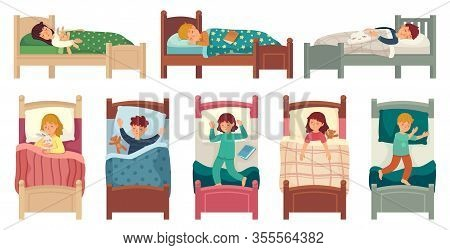 Kids Sleeping In Beds. Child Sleeps In Bed On Pillow, Young Boy And Girl Asleep. Bedtime Vector Illu