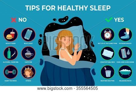 Healthy Sleep Rules. Healthy Night Sleep Tips, Good Habits And Peacefully Sleeping Girl Vector Infog
