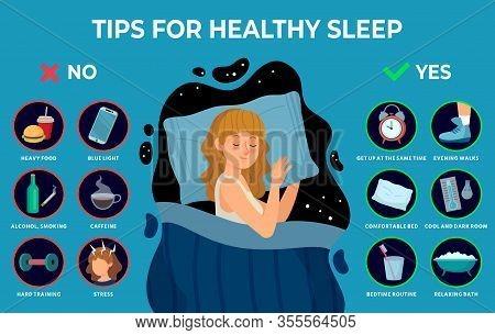Healthy Sleep Rules. Healthy Night Sleep Tips, Good Habits And Peacefully Sleeping Girl Vector Infog
